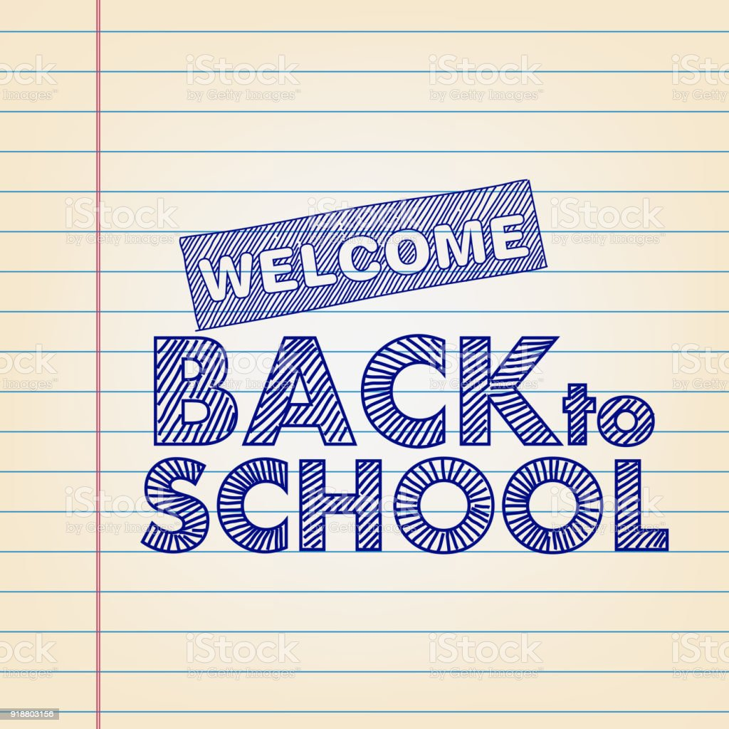 Back To School Concept Drawing On Lined Paper Royalty Free