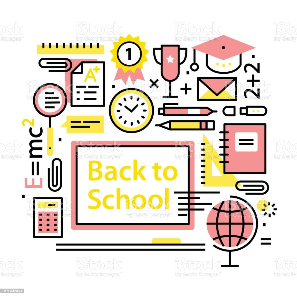 Back to school concept. Education collage vector art illustration