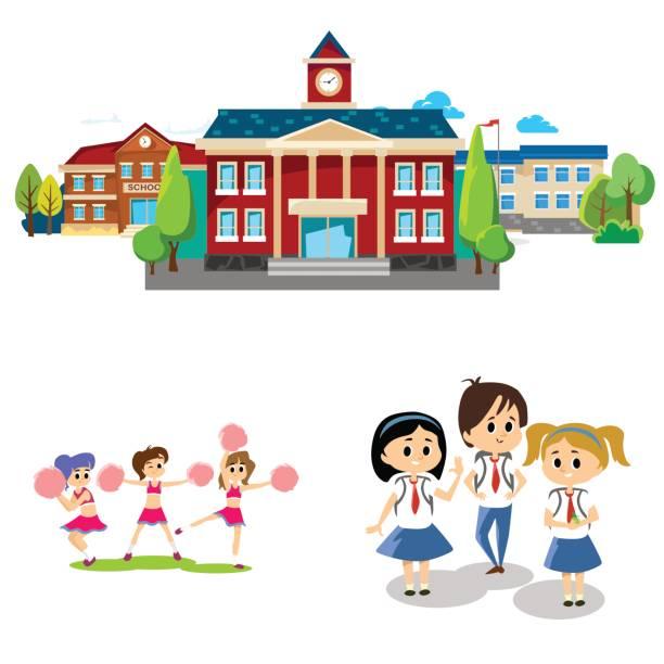 zurück zu schulkonzept für banner, stehen kinder in der nähe von schule bau- und glücklich am jahresbeginn bildung, studierende mit rucksäcken und einheitliche eingegebene college-vektor-illustration - grundschule stock-grafiken, -clipart, -cartoons und -symbole