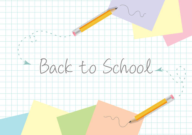 back to school concept template design with yellow pencils scribbles and post-it papers on copypaper - post it notes stock illustrations