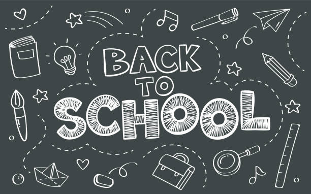 Back to school concept with objects on blackboard poster in doodle style. Back to school concept with objects on blackboard poster in doodle style. back to school stock illustrations