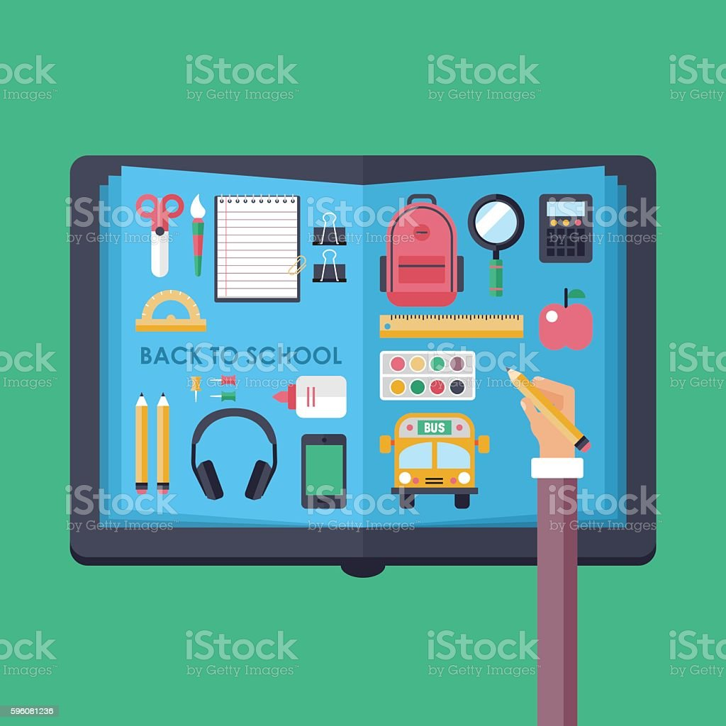 Back to school concept with open book and flat icons royalty-free back to school concept with open book and flat icons stock vector art & more images of accessibility