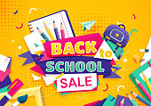 Back to school concept with school items and elements. vector banner design