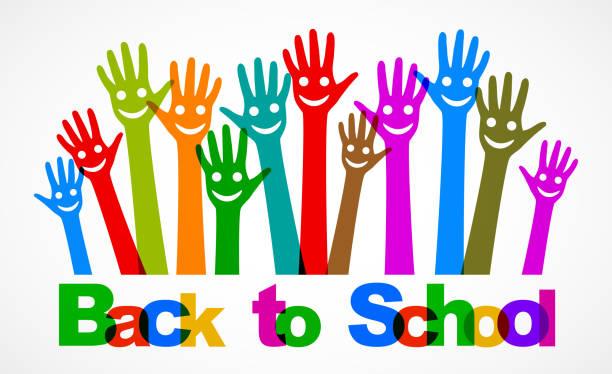Zurück zum Schulkonzept mit lächelnden Händen, Tag des Wissens, erster Tag der Schulillustration – Stockvektor – Vektorgrafik