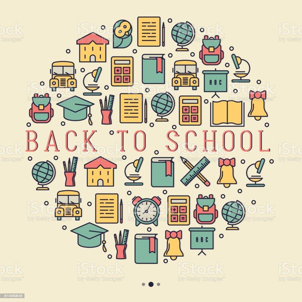 A concepto de la escuela con los iconos de línea fina en círculo: autobús escolar, mundo, libros, mochila, calculadora, pluma, lápiz.  Ilustración de vector de banner, página web, medios impresos. - ilustración de arte vectorial