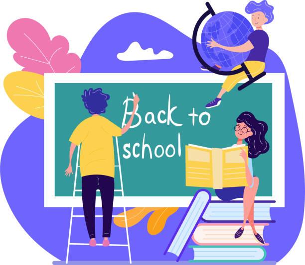ilustraciones, imágenes clip art, dibujos animados e iconos de stock de concepto de regreso a la escuela con tres jóvenes estudiantes escribiendo el texto - regreso a clases