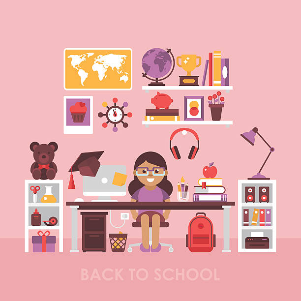 Back To School Concept With Workspace For Girl Child Room Vektorgrafik