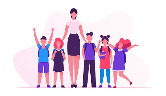 Back to School Concept with Young Smiling Woman Teacher and Group of Kids Stand in Row in Classroom. Elementary School Class, Preschool Studying. Happy Smiley Children Cartoon Flat Vector Illustration