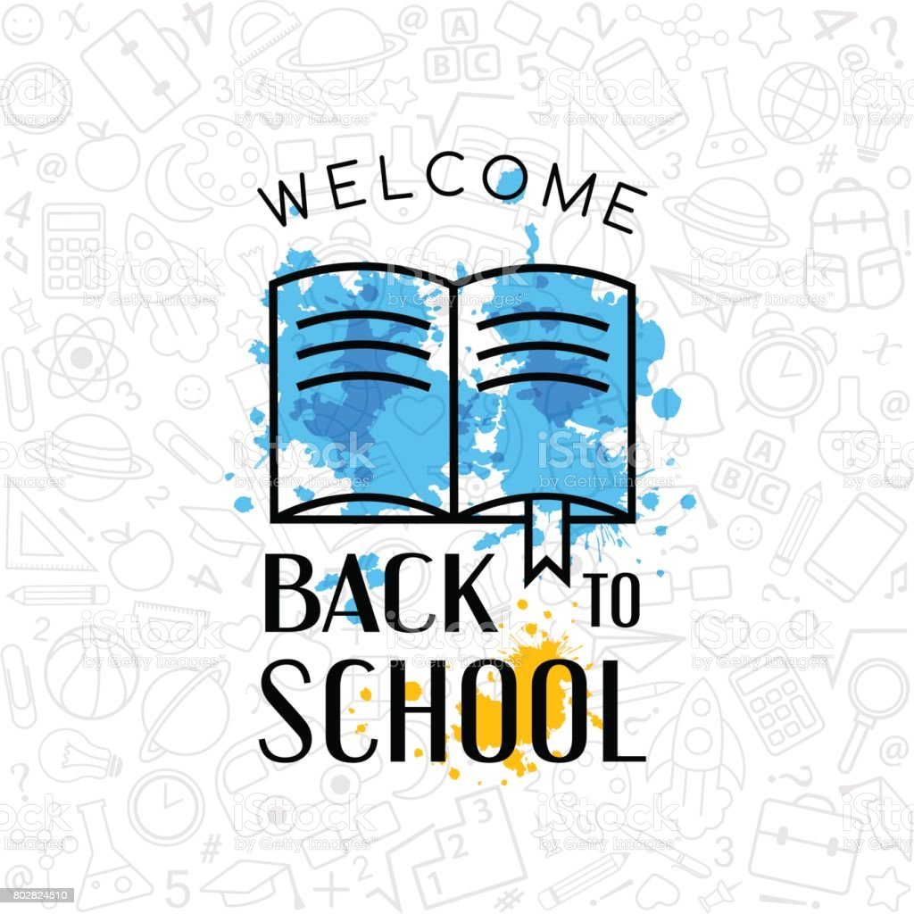 Back to school conceptual background with welcome sign and line art back to school conceptual background with welcome sign and line art icon texture royalty free buycottarizona Gallery