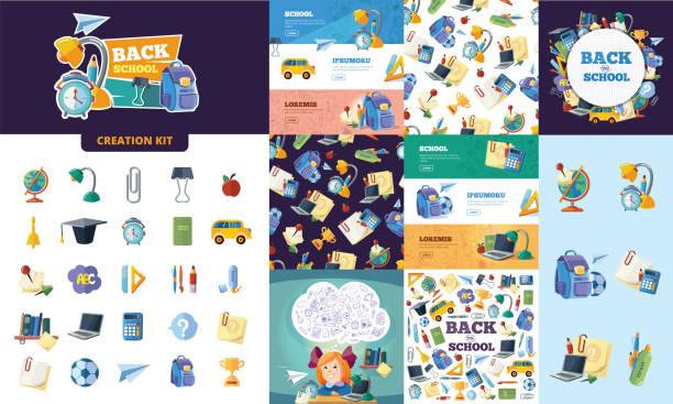 ilustrações, clipart, desenhos animados e ícones de voltar para a escola. kit de criação de ferramentas de educação diferente - landscape creation kit