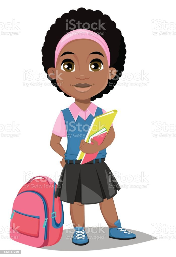 Back to school. Cute Afro-American girl with books in casual clothes stands near schoolbag vector art illustration