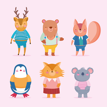 back to school cute animals cartoon with clothes