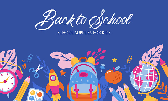 Back to school cute banner design. Childish print for cards, posters and background template