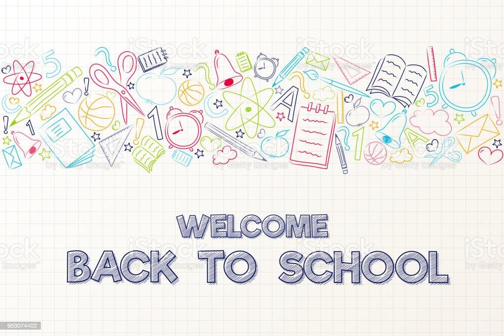 戻る学校に - 手でかわいいポスターは要素を描画します。ベクトル。 ベクターアートイラスト