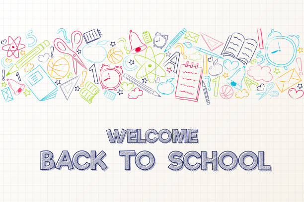 back to school - cute poster with hand drawn elements. vector. - back to school stock illustrations, clip art, cartoons, & icons