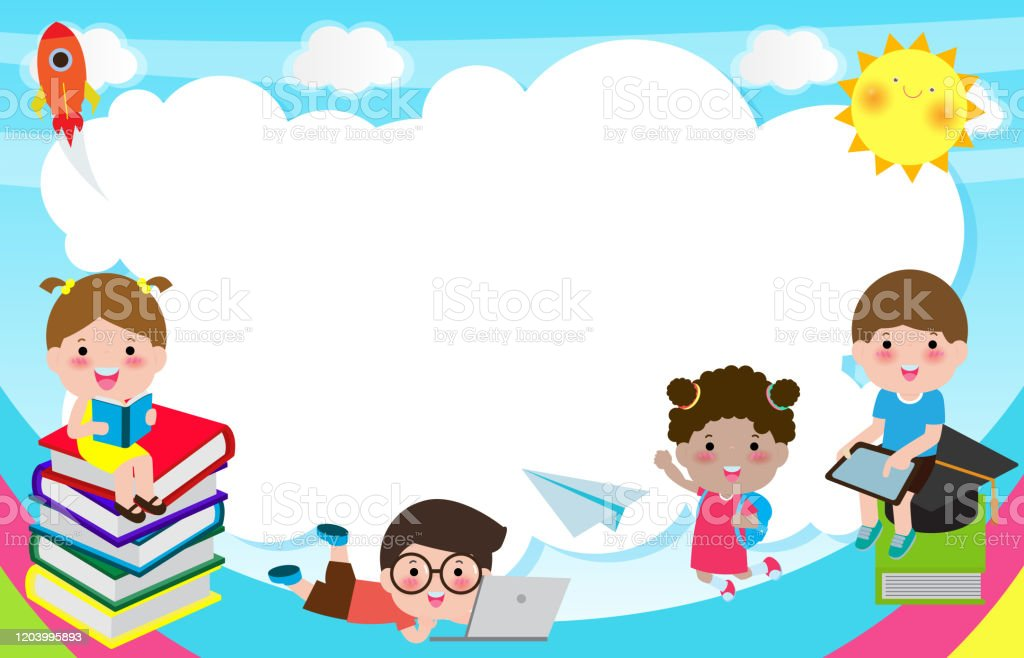 Back To School Cute School Kids Education Concept Children On The Rainbow Template For Advertising Brochure Your Textkids And Framechild And Framehappy Cartoon Background Vector Illustration Stock Illustration Download Image Now