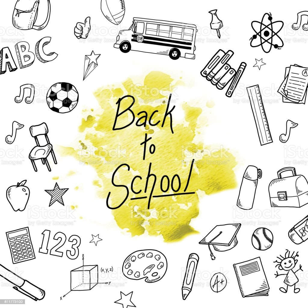 Back to school design template with icons