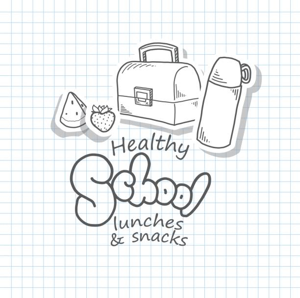 back to school design template with icons - lunch box stock illustrations, clip art, cartoons, & icons