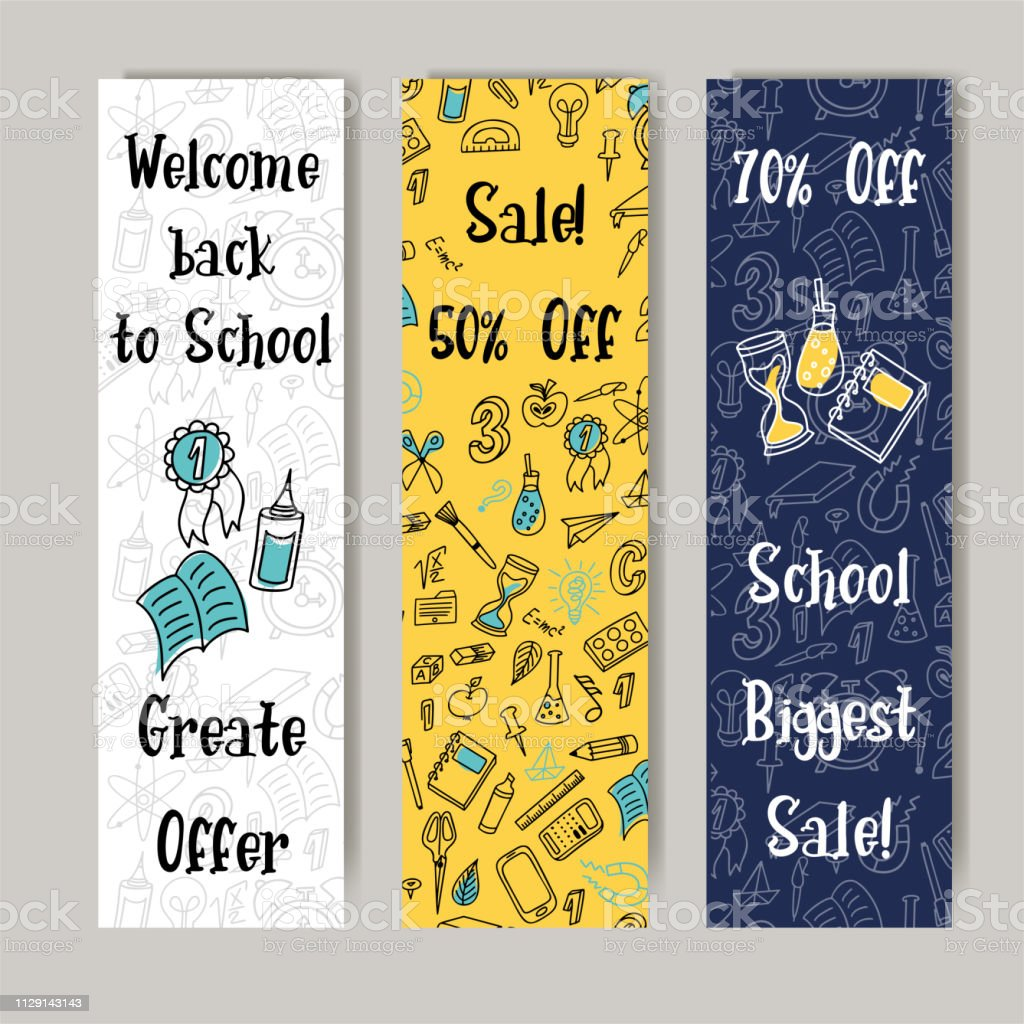 Back to school discount promotion background. Vector set of banners...