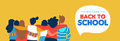 Welcome back to school web banner illustration of diverse teen student group hugging together. Highschool teenager classmate concept or young college students.