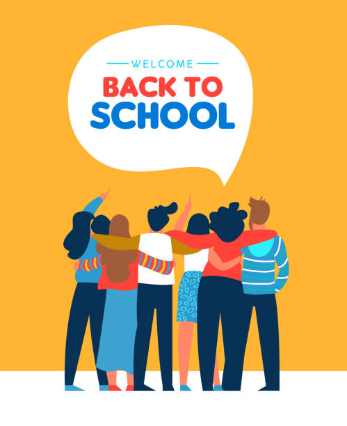 Back to school diverse student friend group card Welcome back to school card illustration of diverse teen student group hugging together. Highschool teenager classmate concept or young college students. unity stock illustrations