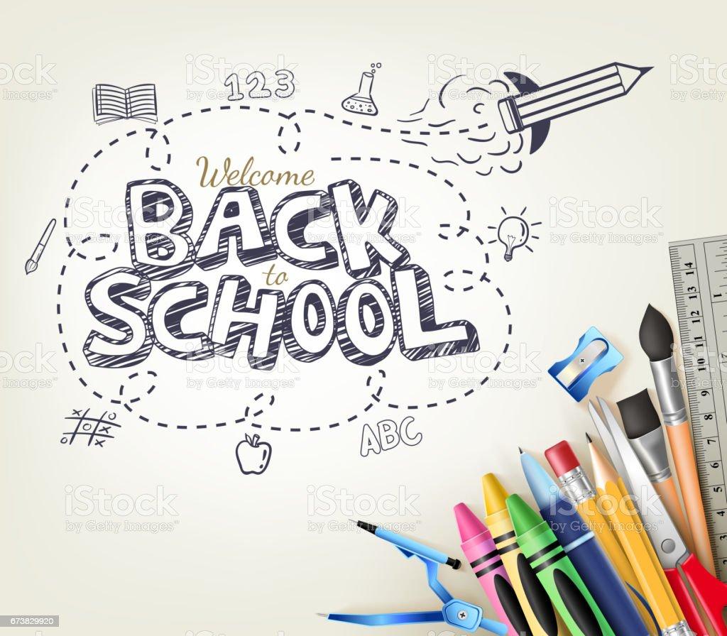 Retour à Doodle école concept en fond blanc avec des éléments - Illustration vectorielle
