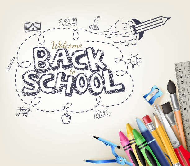 back to school doodle concept in white background with items - high school stock illustrations, clip art, cartoons, & icons