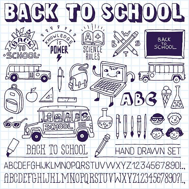 powrót do szkoły bazgroły ikony, znaki zestaw liter. - ice cream stock illustrations