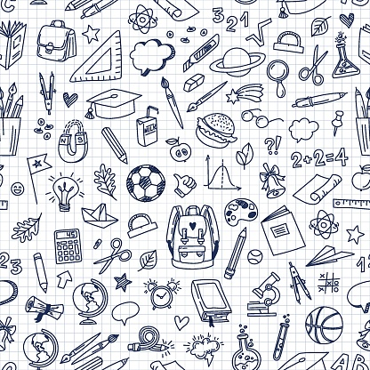 Back to school doodle pattern. Drawing with a pen in a notebook. School elements and items. Vector Seamless Pattern