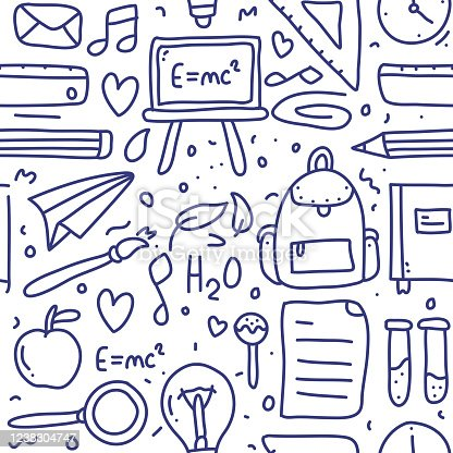 istock Back To School Doodle Seamless Pattern and Line Icons 1238304747