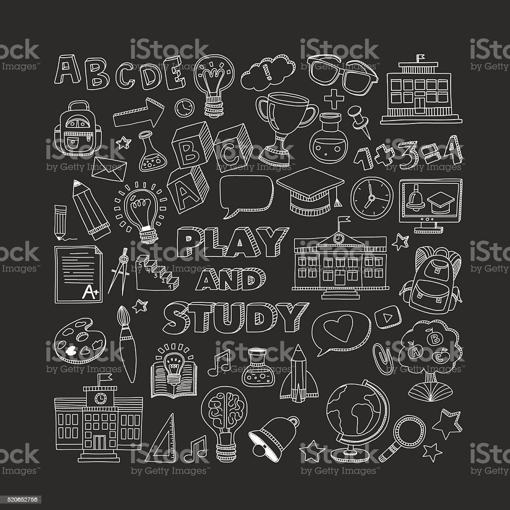 Back to School doodle set. Linear icons vector art illustration