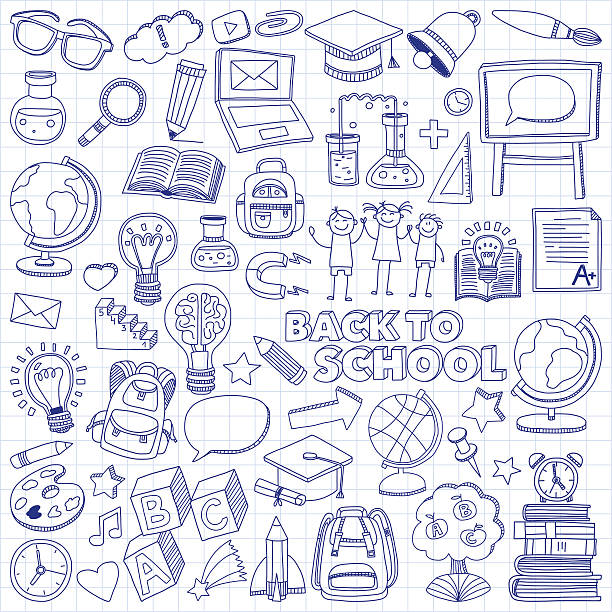 back to school 낙서 설정합니다. 선형 아이콘 - kids drawing stock illustrations