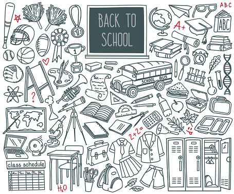 Back to School doodle set. Sport, art, reading, science, geography, biology, physics, mathematics, astronomy, chemistry.