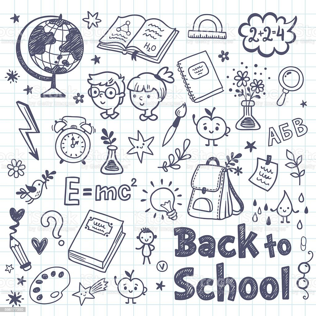 Back To School Doodle Set With Cartoon Subjects Stock ...