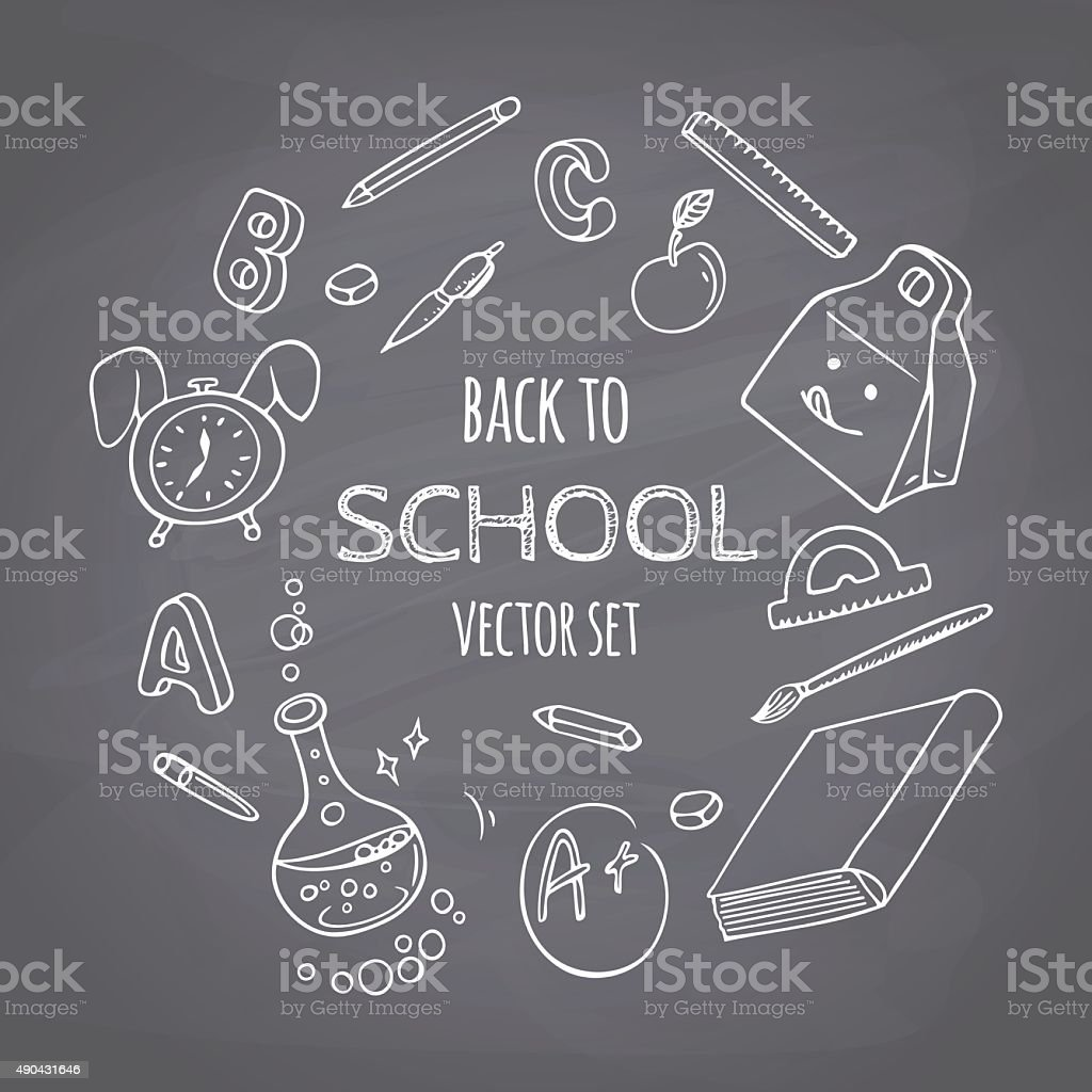 Back To School Doodle Supplies Set Chalk Style Chalkboard Background Royalty Free