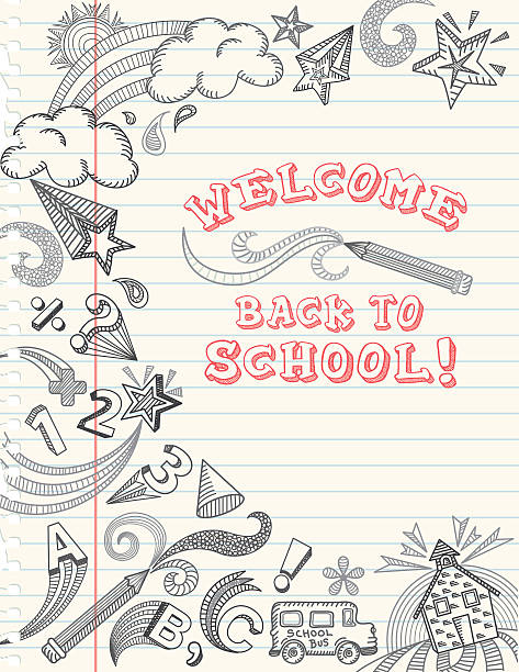 back to school doodle - lined paper stock illustrations