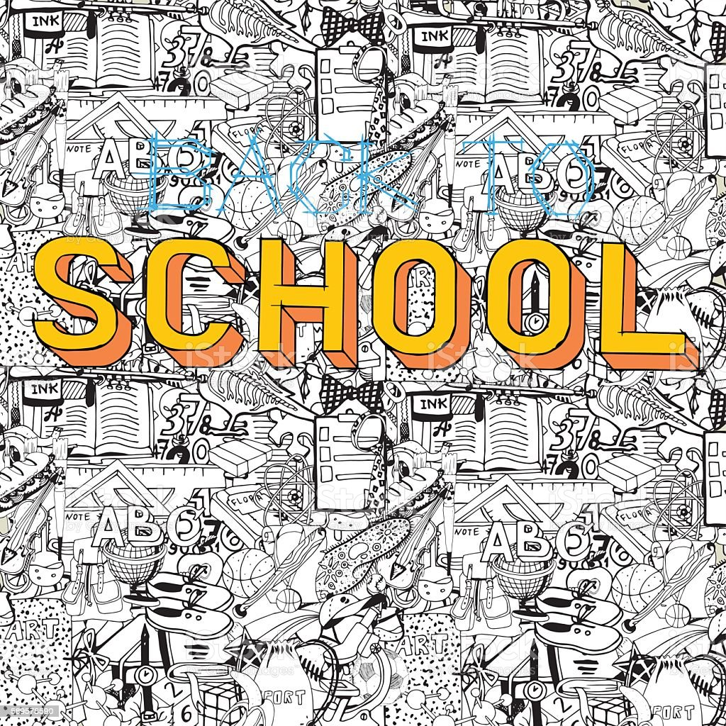 Back To School Doodles Collage Hand Drawn On Education Theme