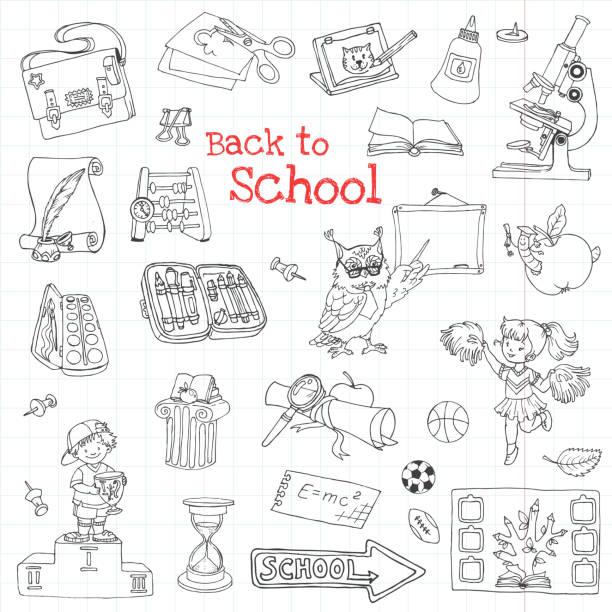 学校に戻る-手描きスケッチベクトルイラスト - 中学校点のイラスト素材/クリップアート素材/マンガ素材/アイコン素材
