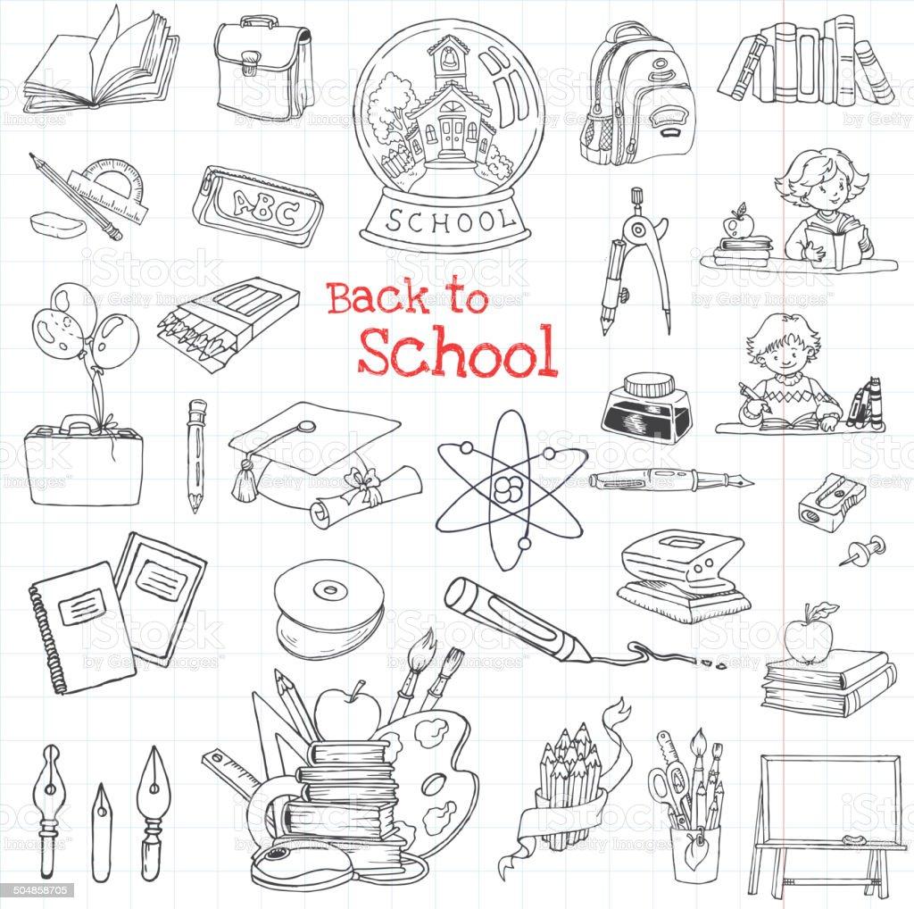 Back to School Doodles - Hand-Drawn Vector Illustration vector art illustration