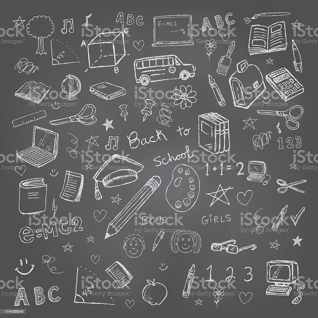 Voltar para a escola e rabiscos em fundo chalkboard - ilustração de arte em vetor