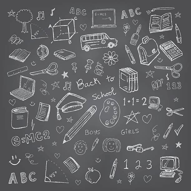 back to school doodles in chalkboard background - back to school stock illustrations, clip art, cartoons, & icons