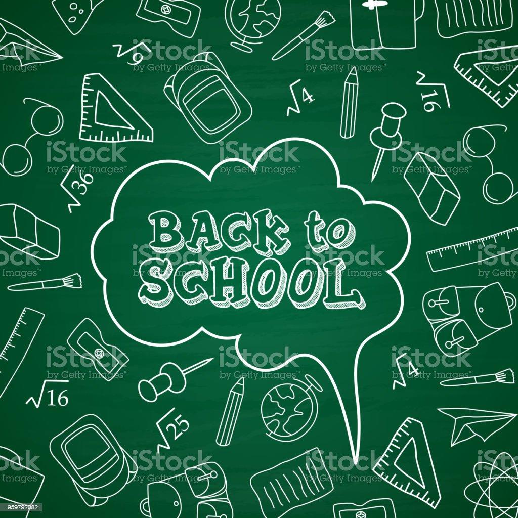 Ilustración de Volver A La Escuela Garabatos En Fondo Chalkboard y ...