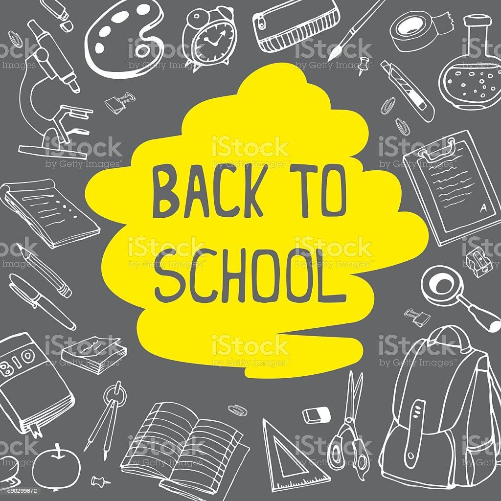 Back to school doodles on chalkboard background with yellow underline. royaltyfri back to school doodles on chalkboard background with yellow underline-vektorgrafik och fler bilder på bag