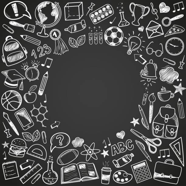 illustrazioni stock, clip art, cartoni animati e icone di tendenza di torna a scuola doodles - scuola