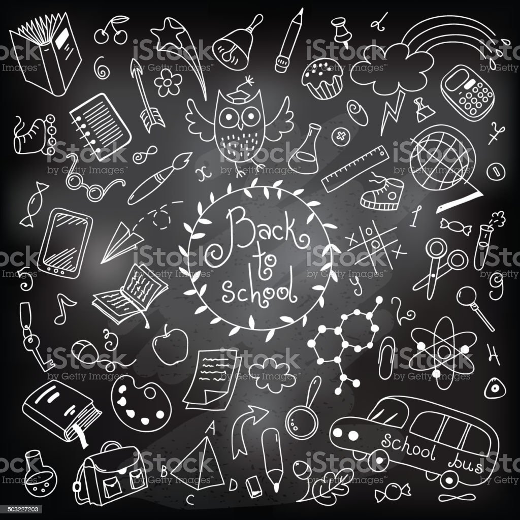 Back to school. Drawing with chalk royalty-free stock vector art