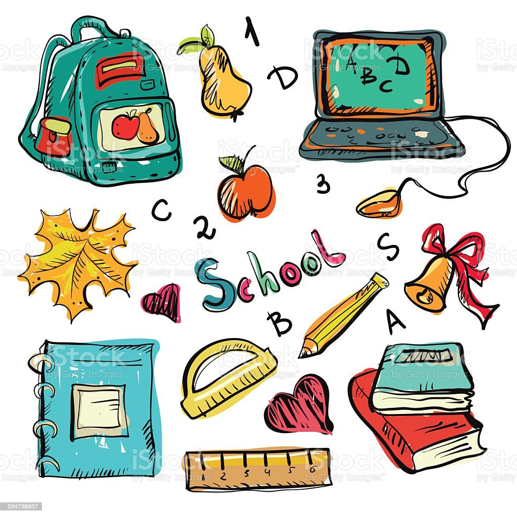 Back to school education icons cartoon art drawing set isolated on a...