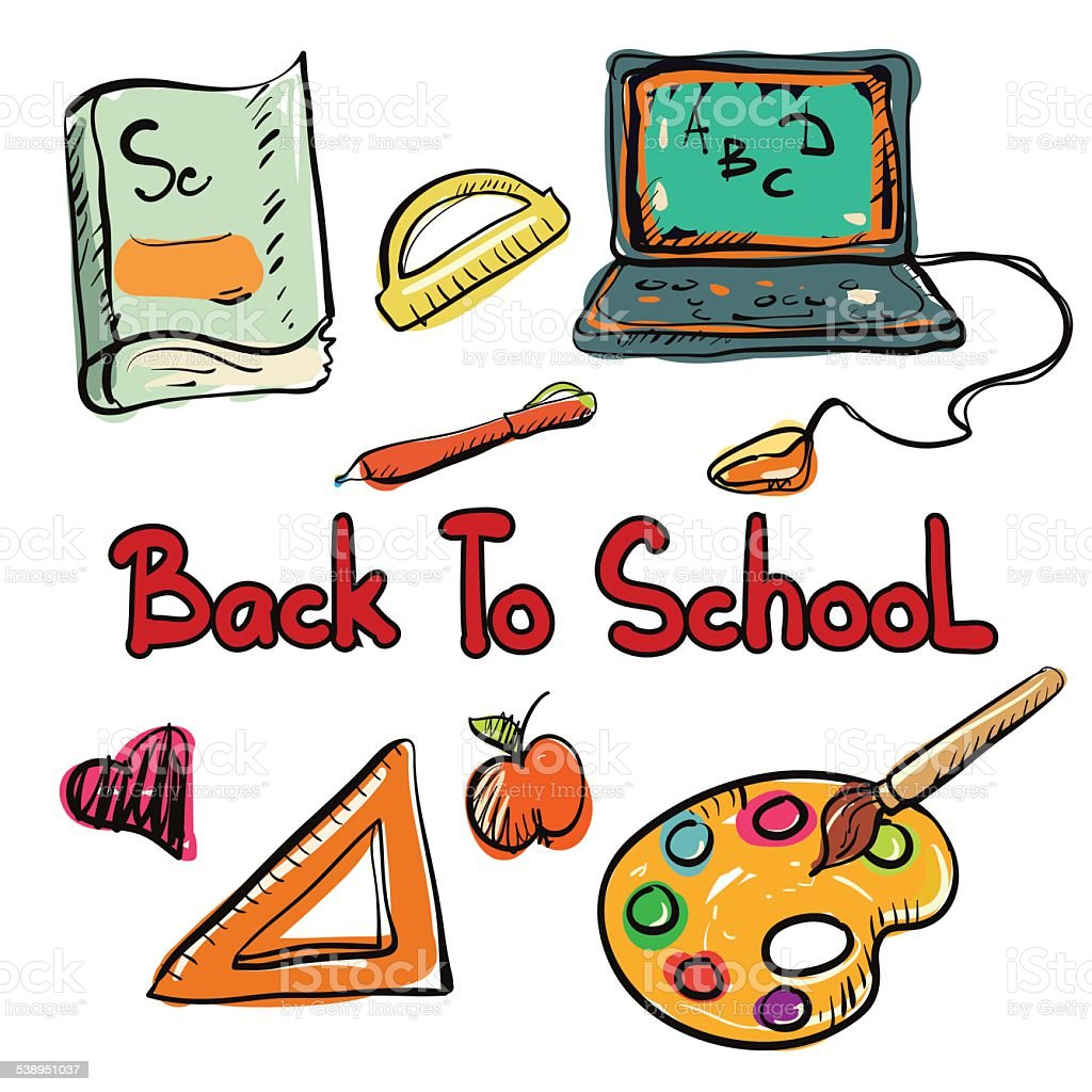 Back to school education icons cartoon art hand drawn set isolated on...