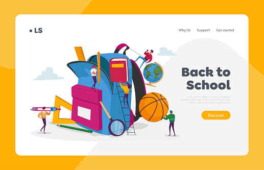 Back to School, Education Landing Page Template. Tiny Characters Put in Huge Backpack Educational Tools, Stationery Ball, Globe and Book for Different Disciplines. Cartoon People Vector Illustration
