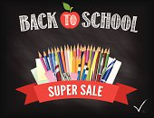 Back To School Fall Sale Blackboard Design Template