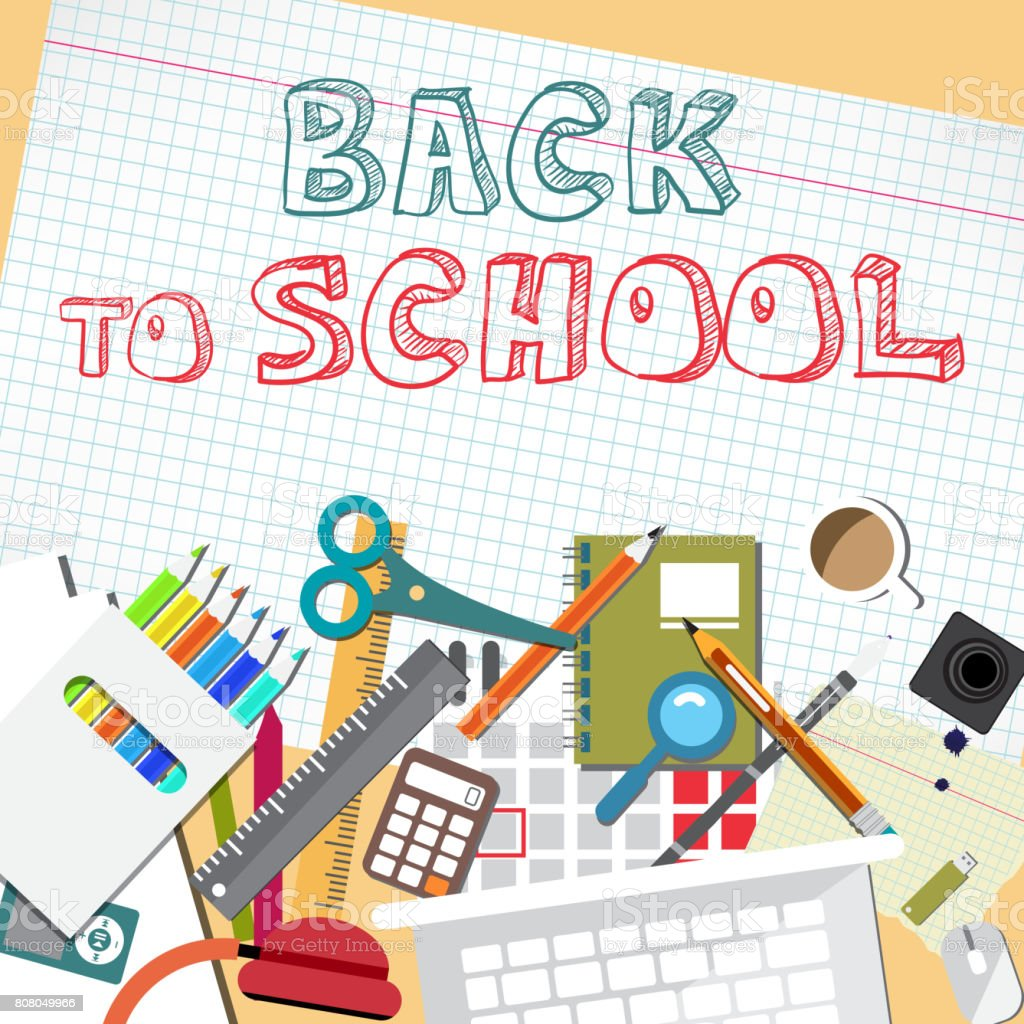 Back to school flat cartoon design vector art illustration
